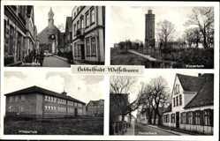 Postcard Wesselburen, Wasserturm, Hebbelhaus, Mittelschule, Süderstraße