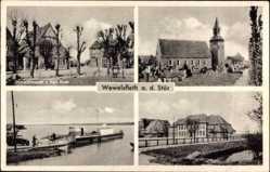 Postcard Wewelsfleth an der Stör, Gemischtwaren, Inh. K. Goos, Stadtansichten