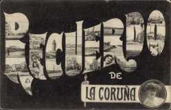Buchstaben Ak A Coruña Galicien, Recuerdo, Leuchtturm
