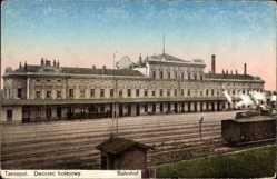 Postcard Tarnopol Ukraine, Dworzec kolejowy, Blick auf den Bahnhof