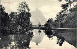 Postcard Romsdalshorn Norwegen, Wasserpartie, Gebirge
