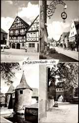 Postcard Prichsenstadt in Unterfranken, Straßenpartie, Festung, Westtor, Fachwerkhaus