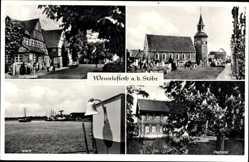 Postcard Wewelsfleth a.d. Stöhr, Dorfstraße, Kirche, Pastorat, Werft
