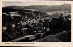 Postcard Geraberg Thüringer Wald, Blick auf den Ort mit Carl Eduard Warte