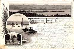Vorläufer Litho Lindau im Bodensee Schwaben, Heidenmauer, Hafeneinfahrt, 1895