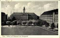 Postcard Herne im Ruhrgebiet, Rathaus mit Polizeiamt und Amtsgericht