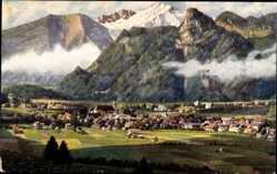 Künstler Ak Marschall, V., Oberammergau, Totalansicht des Ortes mit Kofel
