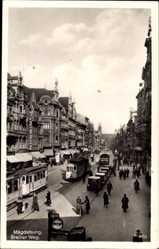 Postcard Magdeburg in Sachsen Anhalt, Straßenbahnen, Breiter Weg, Corinthum