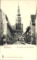 Postcard Greifswald in Mecklenburg Vorpommern, Nicolaikirche und Hunnenstraße