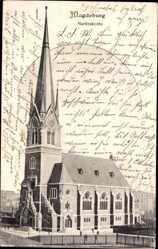 Postcard Magdeburg in Sachsen Anhalt, Blick auf die Martinskirche, Seitenansicht