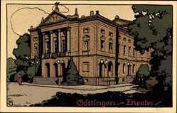 Steindruck Ak Göttingen in Niedersachsen, Blick auf das Theater