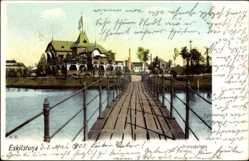 Postcard Eskilstuna Schweden, Stromsholmen, Steg im Wasser, Restaurant