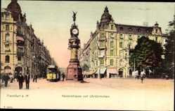 Postcard Frankfurt am Main, Kaiserstraße mit Uhrtürmchen und Straßenbahn