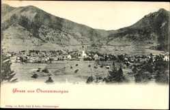 Postcard Oberammergau in Oberbayern, Panoramablick auf den Ort