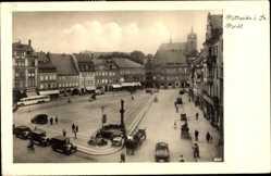 Postcard Mittweida Sachsen, Marktplatz mit Geschäften, Burgkeller, Lichtspielhaus