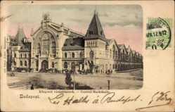 Postcard Budapest Ungarn, Zentral Markthalle, Straßenpartie