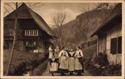Postcard Wolfach im Ortenaukreis, Schwarzwälder Bauernhaus und Tracht