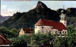 Postcard Oberammergau in Oberbayern, Partie mit Kirche und Kofel