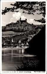 Postcard Balduinstein a. d. Lahn, Schloß Schaumburg, Brücke