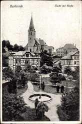 Postcard Brotterode Trusetal in Thüringen, Marktplatz mit Kirche, Fontäne
