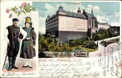 Ak Altenburg in Thüringen, Schloss, Straßenbahn, Altenburger Bauerntrachten