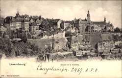 Postcard Luxemburg, Chemin de la Corniche, Totalansicht, Mauern, Ort