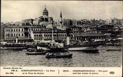 Postcard Konstantinopel Istanbul Türkei, Le Port et la Tour de Galata, Hafen