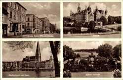 Postcard Schwerin in Mecklenburg Vorpommern, Schlosshalle, Schloss, Pfaffenteich, Dom