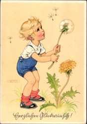 Künstler Ak Lungershausen, Ilse Wende, Junge mit Pusteblume