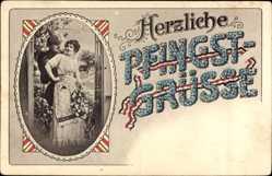 Postcard Glückwunsch Pfingsten, Soldat mit Frau, Patriotik
