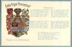 Präge Wappen Ak Ostfriesland, Eala frya Fresena, Ostfriesenlied