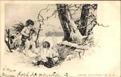 Künstler Ak Zwei Liebesengel machen ein Feuer im Winter, Theo Stroefer 190 4