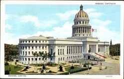 Postcard Habana Havanna Kuba, Capitolo, Straßenpartie, Regierungsgebäude