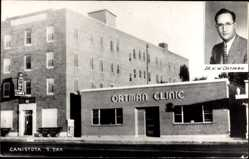 Postcard Canistota South Dakota USA, Ortman Clinic, Dr. H. W. Ortman, Hotel