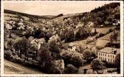 Postcard Pobershau Marienberg im Erzgebirge, Gesamtansicht, Hügel