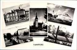 Postcard Tampere Tammerfors Westfinnland, Kirche, Straßenpartie, Autos, Gebäude
