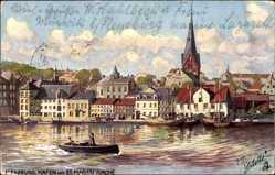 Künstler Ak Flensburg in Schleswig Holstein, Hafen mit St. Marienkirche