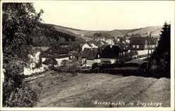 Foto Ak Rechenberg Bienenmühle Erzgebirge, Blick auf den Ort, Felder