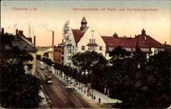 Postcard Chemnitz Sachsen, Hartmannstraße mit Fach und Fortbildungsschule