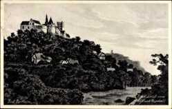 Postcard Bad Bentheim, Blick auf das Schloss, anno 1653, Waldhang, Mühle