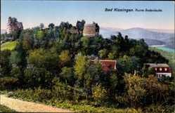Postcard Bad Kissingen, Blick auf die Ruine Bodenlaube, Berge, Flusspartie, Waldhang