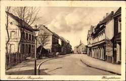 Postcard Burscheid, Blick in die Hauptstraße, Straßenpartie, Gebäude