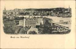 Postcard Flensburg in Schleswig Holstein, Stadtpanorama, Gewässer, Glockenturm