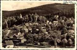 Postcard Elgersburg im Ilm Kreis Thüringen, Stadtansicht, Waldhang, Turm