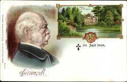 Litho Aumühle im Herzogtum Lauenburg, Schloss Friedrichsruh, Otto v. Bismarck