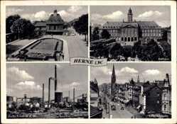 Postcard Herne im Ruhrgebiet Nordrhein Westfalen, Bahnhof, Rathaus, Zeche Friedrich