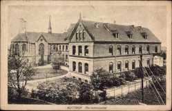Postcard Bottrop, Blick auf das Marienhospital, Kirche, Gärten