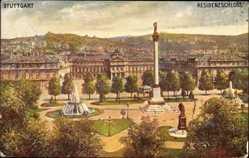 Postcard Stuttgart, Blick auf das Residenzschloss, Parkanlage, Springbrunnen, Denkmal