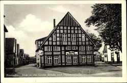 Postcard Bramsche in Niedersachsen, Große Straße und Münsterstraße, Deutsches Haus