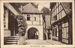Postcard Tecklenburg in Nordrhein Westfalen, Legge, Fachwerkhäuser, Tor, Treppe